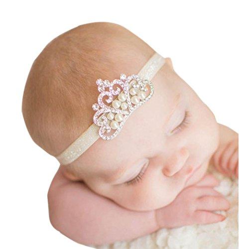 Vovotrade Fascia dei Capelli Crown Princess neonata di Cristallo della Perla della Parte Superiore Hairband