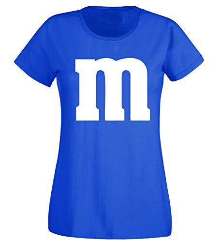 Nation JGA - Camiseta de Cuello Redondo para Mujer, para Carnaval, Disfraz de Grupo, diseño de M, MM Azul M