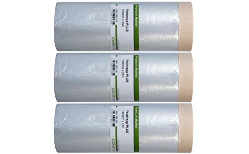 3 x Colorus Masker Tape PLUS Feinkrepp   Selbstklebende Malerfolie 140 cm x 33 m   Abdeckfolie für glatte und leicht raue Oberflächen im Innenbereich   Malerkrepp-Abdeckfolien-Klebeband