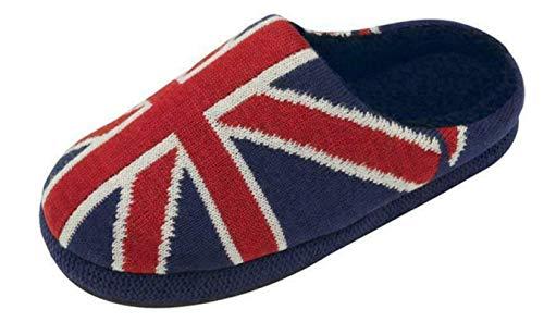 Dunlop Herren Pantoffeln aus Memory-Schaum, warm, Fleece, Rot - union jack - Größe: 44/45 EU
