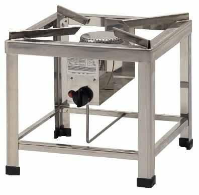 ChattenGlut Professional Hockerkocher HK2000E - freistehendes Tischgerät aus Edelstahl mit Brenner - 10kW, regelbar für Flüssiggas, 400x400x420 mm, incl. Schlauch und Regler 50mbar