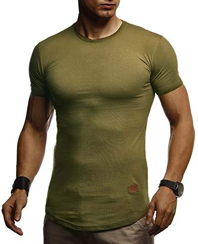 Leif Nelson Herren Sommer T-Shirt Rundhals Ausschnitt Slim Fit Baumwolle-Anteil Cooles Basic Männer T-Shirt Crew Neck Jungen Kurzarmshirt O-Neck Kurzarm Lang LN8294 Khaki X-Large