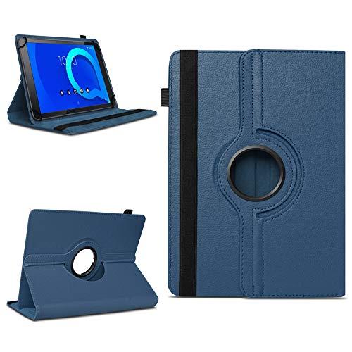 NAUC Tablet Schutzhülle kompatibel für Alcatel 1T 10 Hülle Tasche aus Kunstleder Standfunktion 360° Drehbar Cover Universal Hülle, Farben:Blau
