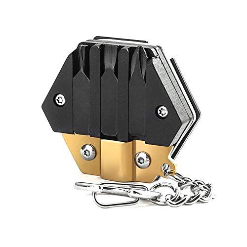Nicejoy Multi Tool, Herramienta Plegable De La Moneda Llavero Tarjeta Multifunción Destornillador Hexagonal Llave De Oro a La Supervivencia De La Herramienta Camping Al Aire Libre