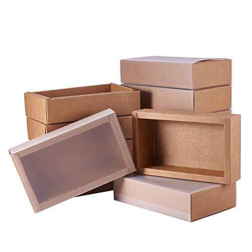 BENECREAT 12 Pack Caja Rectángula de Cartón Kraft 17x10x4cm Caja de Cajón con Tapa de Plástico Mate para Fiesta, Navidad, Regalo