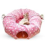 NMBC Cama de Gato para Mascotas Cama de túnel de Gato Túnel de Tubo de Gato Túneles de Gato para Gatos de Interior Cama de Gato Túnel de Juego Cuatro Estaciones Plegable-250x25cm Rosa b