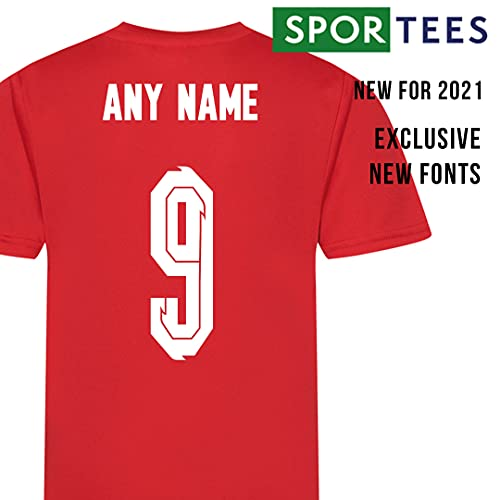 Sportees Retro Kids Personalised All Red England Style Away Football Kit With FREE Socks & Bag Youth Football England Boys Or Girls Football Jersey Child Football Kit - 5/6 Years