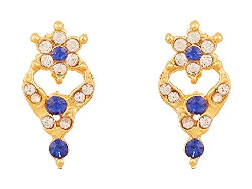 Touchstone chapado en oro floral pendientes para las mujeres