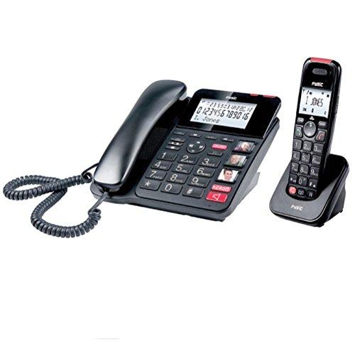 Combo teléfono inalámbrico y fijo de teclas grandes