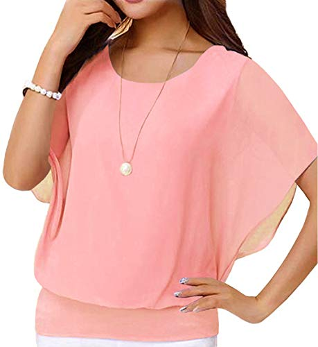 Neineiwu Women's Loose Casual Short Sleeve Chiffon Top T-Shirt Blouse (Light Pink XL)