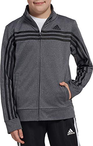 adidas Boy's Heather Colorblock Tricot Jacket (Grey Heather, Large)