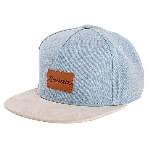 Blackskies Denim Beast Snapback Cap | Herren Damen Schirm Premium Baseball Mütze Kappe Jeans Kappe - Blau