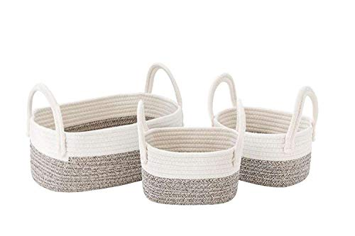 UBBCARE Cotton Rope Storage Baskets Storage Bins Organizer Decorative Woven Basket for Nursery Baby Clothes, Toy, Makeup, Books, Set of 3