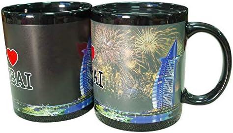 ZDW Thermische Kleur Veranderende Cup Batterij Keramische Cup Dagelijkse Merchandise Reclame Water Cup Mok Stad vuurwerk