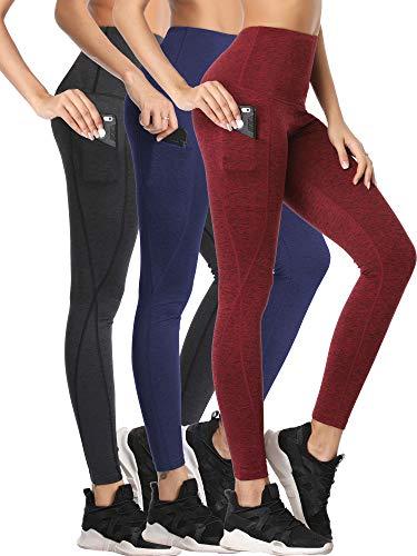 Neleus Women's 3 Pack Yoga Pants Tummy Control High Waist Workout Leggings,Dark Grey/Navy/Burgundy Red,L