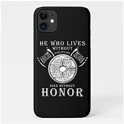 Heren Viking Axe Shield-Symbool Telefoonhoes, Hoesje Voor Iphone 11/12, Slanke Nordic Warrior Print Hard Case Beschermhoes, Zwart,Iphone12