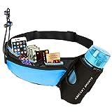 Riñonera Cinturón Running Belt Deportivo con Botella Agua Bolsa impermeable, Alta Ccapacidad Conveniente para iPhone XS MAX/XS/XR/X/8 plus/7 plus, Para Deportes Al Aire Libre (Azul)