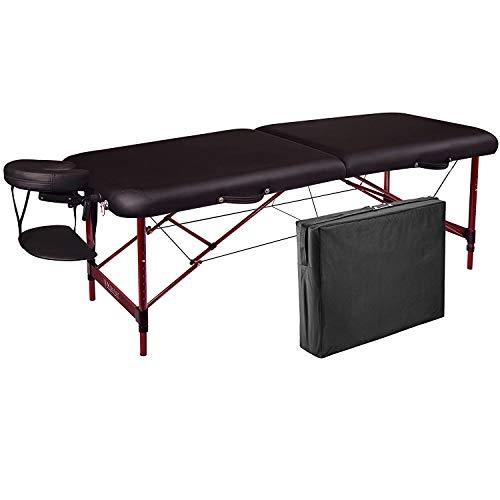 Master Massage - Tavolo da massaggio portatile Zephyr da 71,1 cm, in alluminio leggero, pieghevole, lettino idromassaggio regolabile in altezza, colore nero