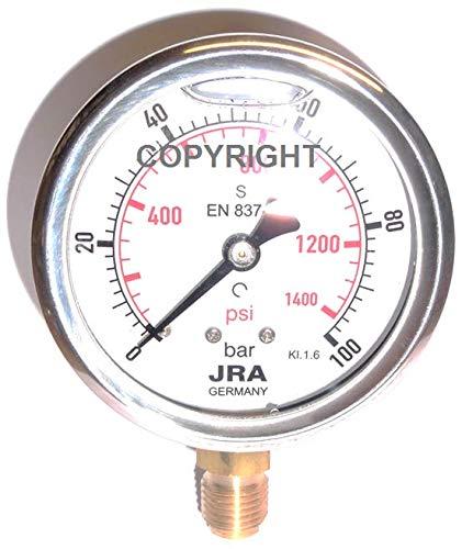 """JRA-Longlife Glyzerin Manometer 0-100 bar/psi NG63 Anschluss unten G1/4"""""""