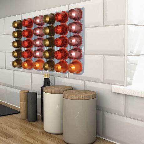 R&R SHOP - Porta Capsule per Nespresso, Incollabile su ogni Superficie tipo Muri, Frigorifero e Compatibile con Macchine Caffè Nespresso con Adesivi 3M, 5 Capsule cadauno - Set di 3