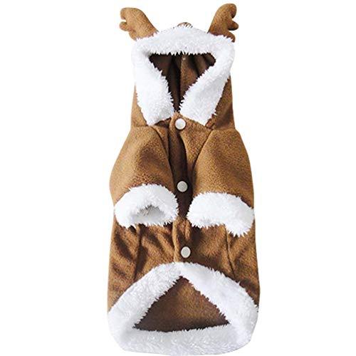 Jitong Natale Costume da Renna per Cani, Abbigliamento Cane Halloween, Hoodie Cappotto per Animali Domestici (Cachi, Size XL)