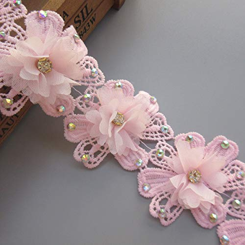 1 Yard 3D Chiffon Flower Diamond Rhinestone Lace Trim Ribbon Edge 6cm Width Vintage Style Pink Embroidered Applique Sewing Craft Wedding Bridal Dress Patchwork Party Headdress Clothes Embroidery