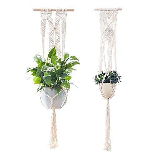 Vpang Makramee Pflanzenhänger mit Holzdübel, Wandbehang, Pflanzgefäß, Baumwollseil, 104,1 cm, 2 Stück weiß