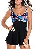 FeelinGirl Traje de Baño de 1 Pieza - Mujeres Tankini Vestido Estampado Floral Talla Grande Bañador Tirantes Ajustables Negro M:Talla-40