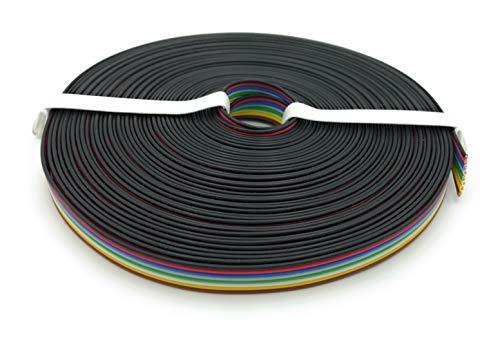 BELI-BECO L825/10 Kabel - Kupferlitze 8 x 0,25 mm² - Flachleitung 8-adrig - 8-Farben: Schwarz, Rot, Blau, Grau, Grün, Weiß, Gelb, Braun - 10 m Ring