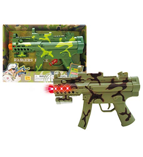 Mozlly Light amp Sounds Military Camo Gun 115quot w/ Vibrations Pretend Play Costume Accessories Colors Vary