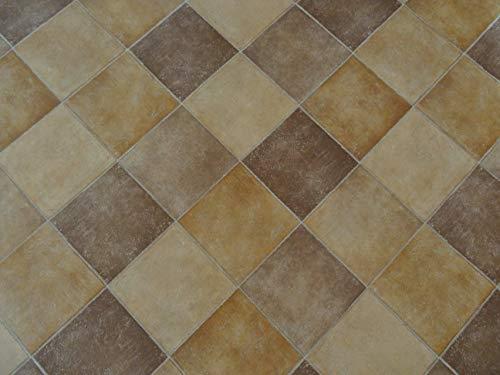 PVC Bodenbelag in Terracotta-Fliesen (8,45€/m²), Zuschnitt (4m breit, 1,5m lang)