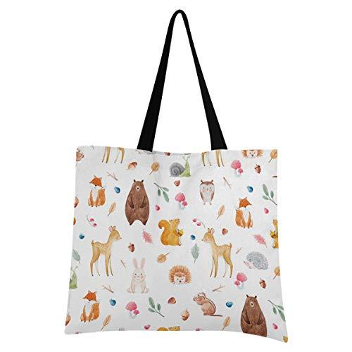 XIXIXIKO - Bolsa de lona con patrón de hojas de zorro de ardilla de zorro para la playa, ligera, bolsa de hombro, resistente para mujeres, niñas, compras, gimnasio, playa, viajes diarios