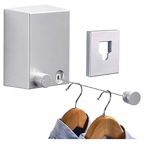 Retractable Clothesline Adjustable 13.8 Feets Stainless Steel Rope, Drill-Free & Wall Mounted Method Heavy Duty Clothes Dryer with Glue and Screws Suitable for Indoor/Outdoor (Silver)