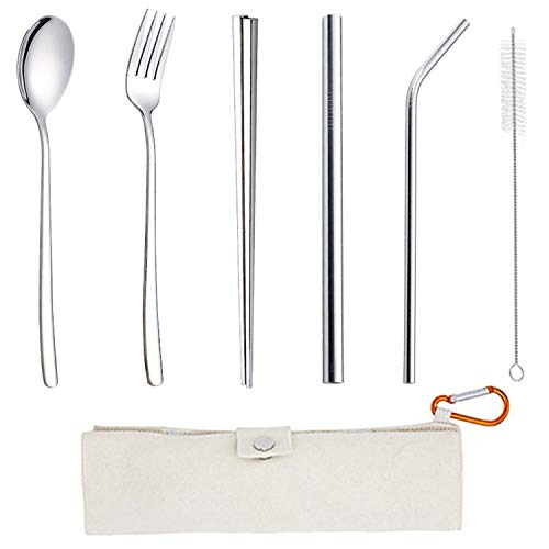 Set di 6 posate da viaggio in acciaio inox, da viaggio, da campeggio, resistenti e riutilizzabili, con cucchiaio, forchetta, bacchette, 2 cannucce, pennello per tubo, borsa portatile (1 set)