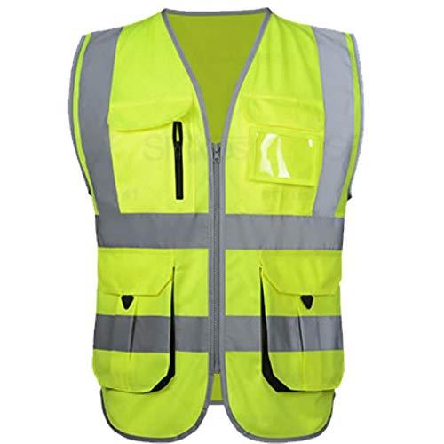 Reflecterend vest veiligheidsvest voor hoge zichtbaarheid bouwwerkzaamheden uniform werkkleding bouwvest logo M(Chest 112cm) Hi Vis Yellow.