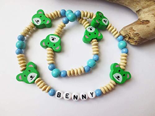 Bunte Kinderkette, Kette für Jungen, Holzperlen, Bärchen, blau, grün, beige, individualisierbar, personalisierbar, elastisch oder fest, Namenskette