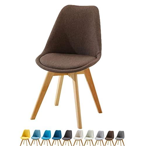 WYBW Silla de comedor para el hogar, sillas de comedor Asiento de tela con patas de madera Diseño retro Restaurante Oficina Salón Comedor Cocina Maquillaje Silla para adultos resistente Taburete,E