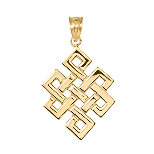 Trendy Necklaces Fine 10k Yellow Gold Japanese Endless Knot Pendant
