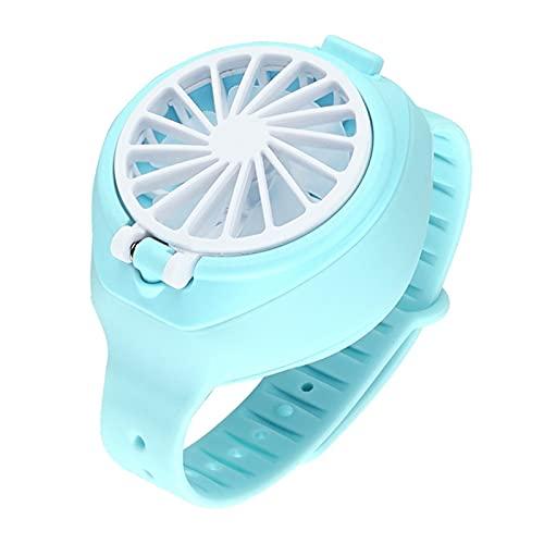 Portátil Deportes Al Aire Libre USB Recargable Ventilador De Reloj, Correa De Muñeca para Niños Mini Reloj De Vigilancia De Mano, Rotación De 360 ° Y Luces De LED Coloridas (Color : Type 2 Blue)