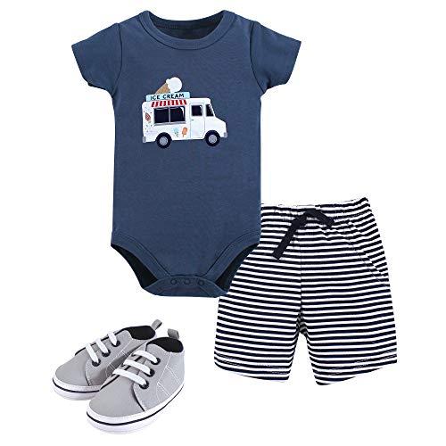Hudson Baby Unisex Baby Cotton Bodysuit, Shorts and Shoe Set, Ice Cream Truck, 12-18 Months Maryland