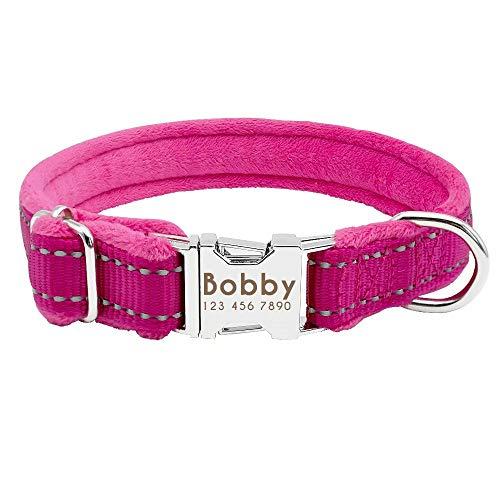 Didog Collar de perro acolchado suave y personalizado, collar de perro acolchado de franela, collar grabado reflectante para perro pequeño, mediano y grande, rosa, tamaño pequeño