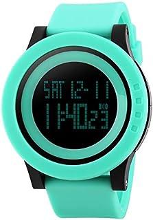 Morden 1142 Multifunctional Men Outdoor Sports Creative Noctilucent Waterproof Silica Gel Digital Watch (Color : Green)