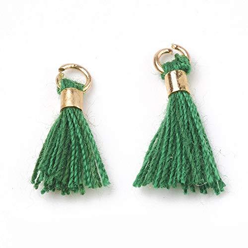 Cheriswelry 100 colgantes de borla verde de algodón sedoso borla llavero colgantes colgantes con latón dorado para joyería manualidades decoración del hogar