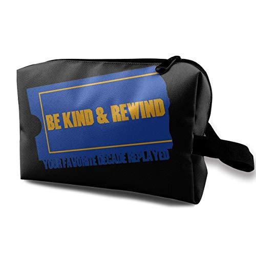 Travel Cosmetic Bag Ladies Cosmetic Bag Be Kind & Rewind, Waterproof Cosmetic Bag, Storage Bag with Zipper