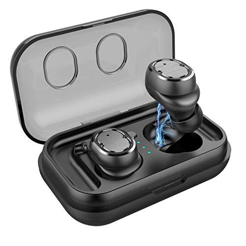 DSAEFG Auricular Bluetooth V5.0 Estéreo Mini Auricular Deportes IPX5 Auriculares In-Ear a Prueba de Agua con Estuche de Carga para iPhone Android (Color : Black)