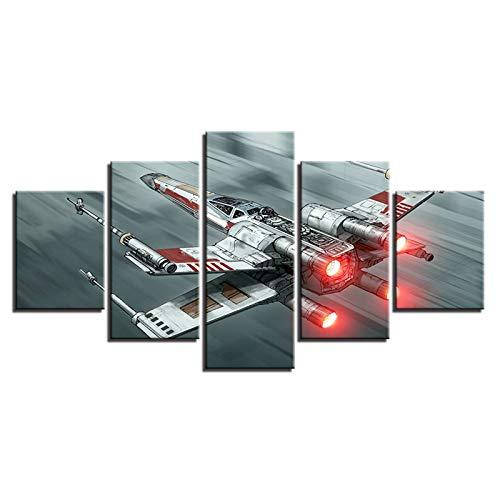 DFGGE 5 Piezas Cuadro En Lienzo Modernos Avión Impresiones En Lienzo Decoración para Dormitorios Arte Pared Grande Hogar HD Impreso Mural