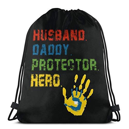 QUEMIN Husband Daddy Protector Hero Gym Bolsa con cordón, Mochila Deportiva para Hombres, Mujeres y niñas, 14,2 x 16,9 Pulgadas / 36 x 43 cm