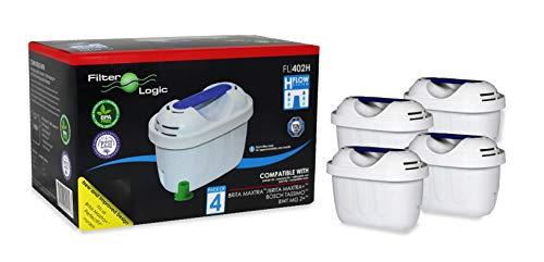FilterLogic FL402H - 4 unidades - cartucho de filtro compatible con BRITA Maxtra para Elemaris / Marella / Navelia / Fun - Bosch Siemens Tassimo jarra filtrante - 100486 1009696