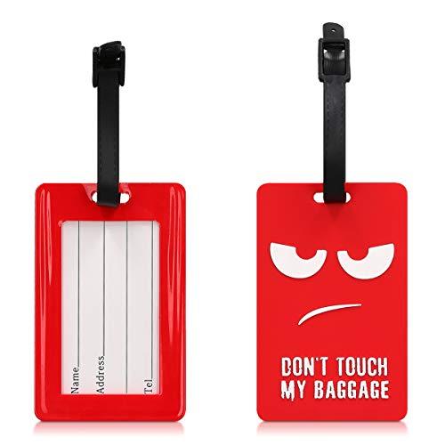 kwmobile Etichetta per valigia con nome e indirizzo - Targhetta bagaglio a mano in stiva zaino trolley bagaglio - Luggage Tag in silicone - Don't touch my Baggage