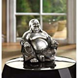 Happy Smiling Buddha Statue, Happy Sitting Buddha Statue Silver & Black Represents Wealth and Prosperity